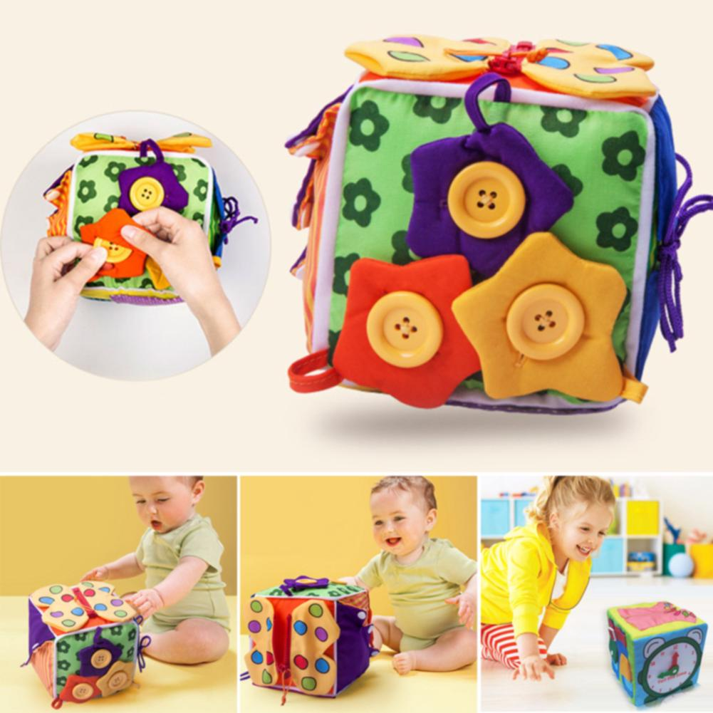 Colorful Learn To Dress Preschool Cloth Fabric Blocks For Baby Soft Birthday Gift Cute Educational Toy