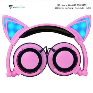 Tai nghe tai mèo màu hồng có led xanh, cực kỳ nổi bật