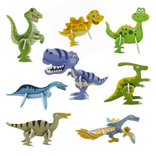 3D Three-dimensional Puzzle Cartoon Dinosaur Figurine Image Model Baby Kids Educational Toys