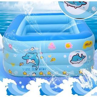 Bể phao bơi 1m3 cho bé (hình chữ nhật) – Có đáy chống trượt an toàn
