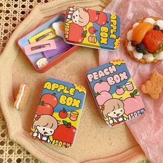 Hộp Thiếc Mini Vintage Đựng Trang Sức và Kẹp Tóc Nhỏ Apple Peach Box