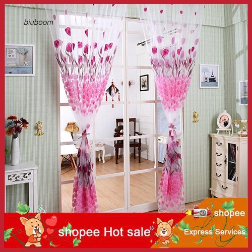 zxc_Romantic Tulip Print Voile Sheer Curtain Drape Divider Valance for Door Window