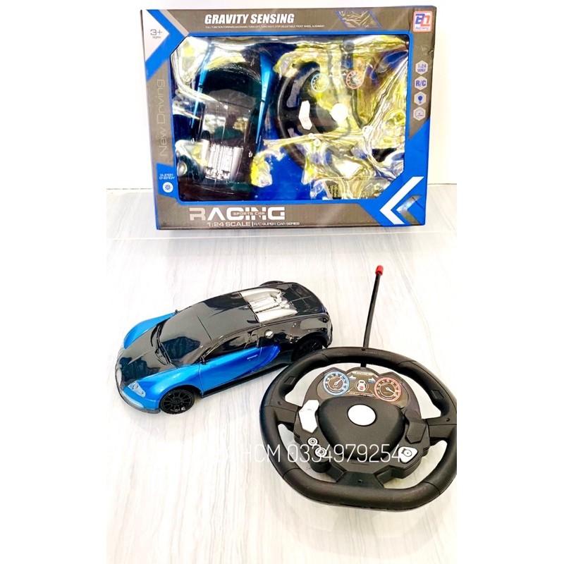 [KIM LOẠI-ĐIỀU KHIỂN BẰNG VÔ LĂNG NHƯ THẬT] Đồ chơi xe ô tô điều khiển 4 chiều bằng kim loại cho bé thích mô hình xe