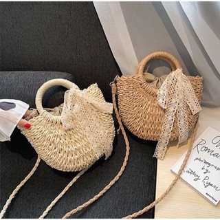 Túi cói bán nguyệt phối nơ Vintage, túi cói đi biển có lớp lót dày dặn, dây rút đựng đồ chắc chắn