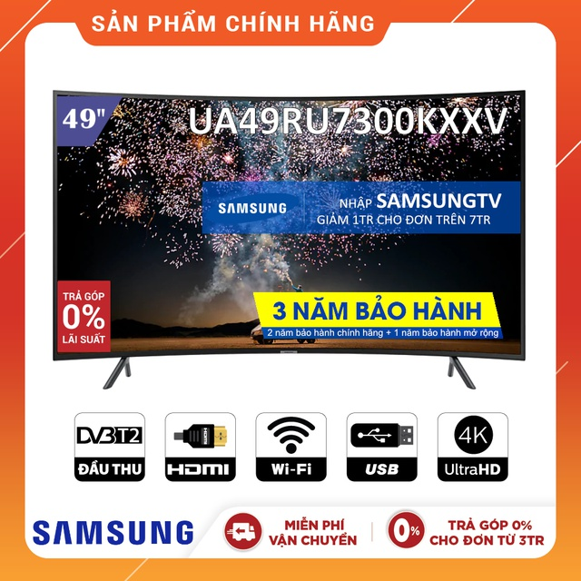 [Nhập SAMSUNGTV Giảm 1TR] Smart Tivi Samsung 4K 49 inch UA49RU7300KXXV