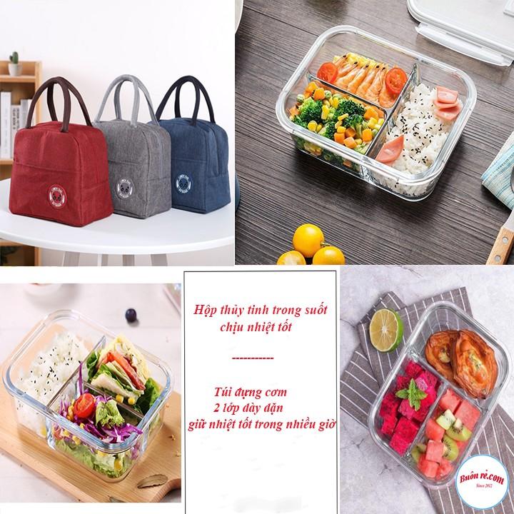 Túi đựng cơm Lunch Bag kèm hộp thủy tinh 3 ngăn dày dặn, siêu chịu nhiệt 00995