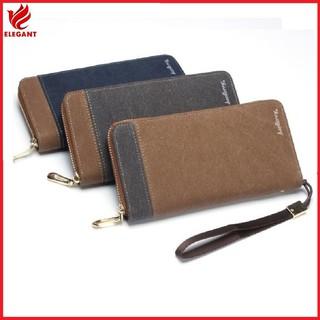 Bóp ví dài cầm tay chất canvas chống nước, ví nam có khóa và ngăn thẻ kèm dây cầm thumbnail