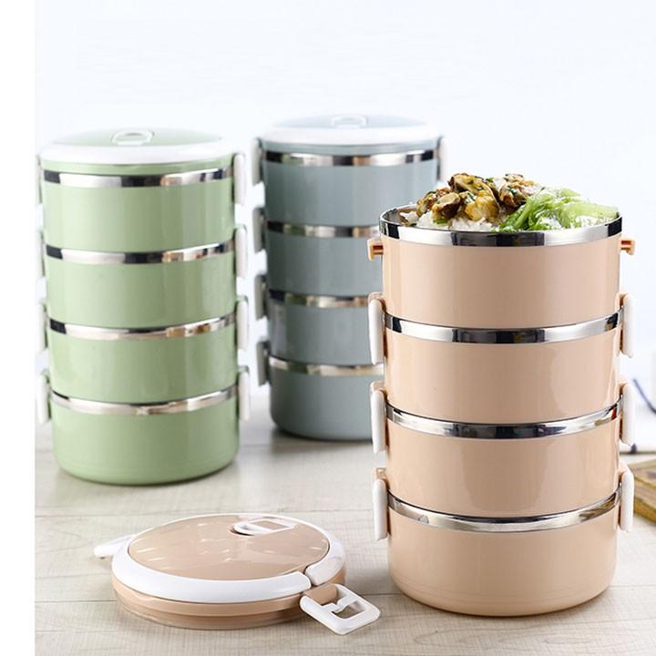 Hộp cơm giữ nhiệt 4 tầng lõi inox Lunch Box (Màu ngẫu nhiên)