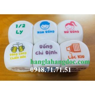 xí ngầu uống bia tiếng Việt cỡ 3cm (drinking game dice) 6 mặt cỡ đại