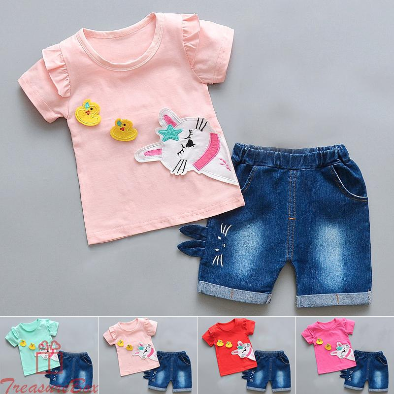 New Baby Children Girls Printed Cartoon Short Sleeve T-Shirt Tops+shorts 2pcs/set Casual Party