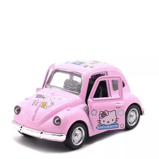 KT Alloy Metal Toys Car Flash Light and Music 1:43 Pink Mini Kitty Simulation Pull Back Vehicles Toys