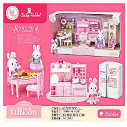 (RẺ VÔ ĐỊCH) Bộ đồ chơi mô phỏng nấu ăn nhà thỏ, màu sắc thiết kế hài hoà đẹp mắt dành riêng cho bé gái, hàng cao cấp