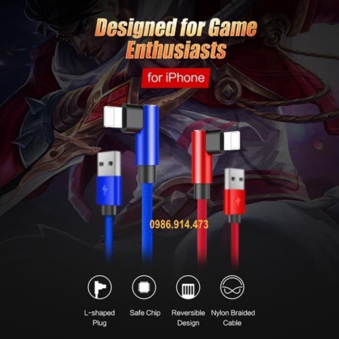 Cáp sạc cho iphone hình chữ L cho game mobile chính hãng Rockspace bảo hành 1 năm 1 đổi 1