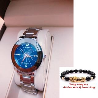 Đồng hồ nam HALEI dây thép - TẶNG 1 vòng tỳ hưu phong thủy (BL. dây trắng mặt xanh)
