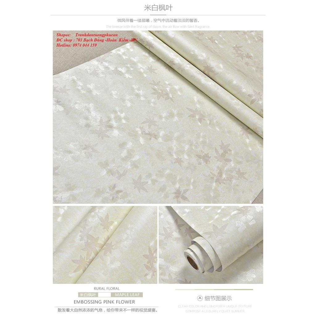 CHỈ 25K 1M vuông giấy dán tường lá phòng trắng tím khổ 1m20