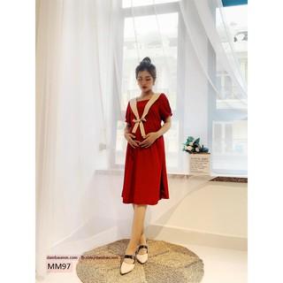 [GIẢM GIÁ SỐC] Đầm bầu xinh ,váy bầu công sở cột nơ thủy thủ M&M MM97