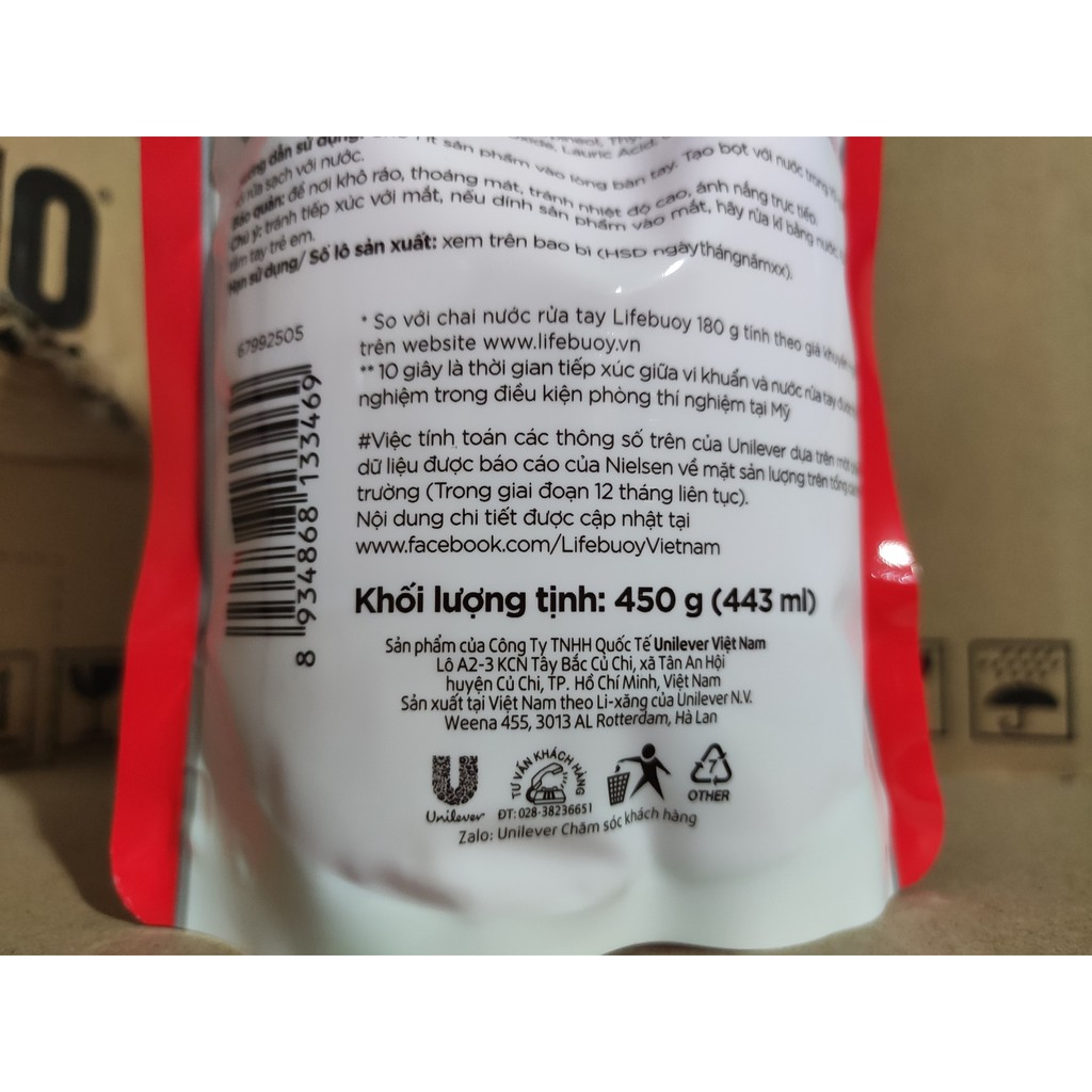 LIFEBUOY NƯỚC RỬA TAY DẠNG TÚI 450G đỏ Bảo Vệ Vượt Trội 450 g
