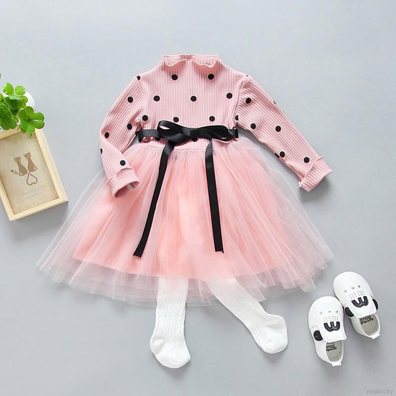 Đầm xòe dài tay họa tiết chấm bi cho bé