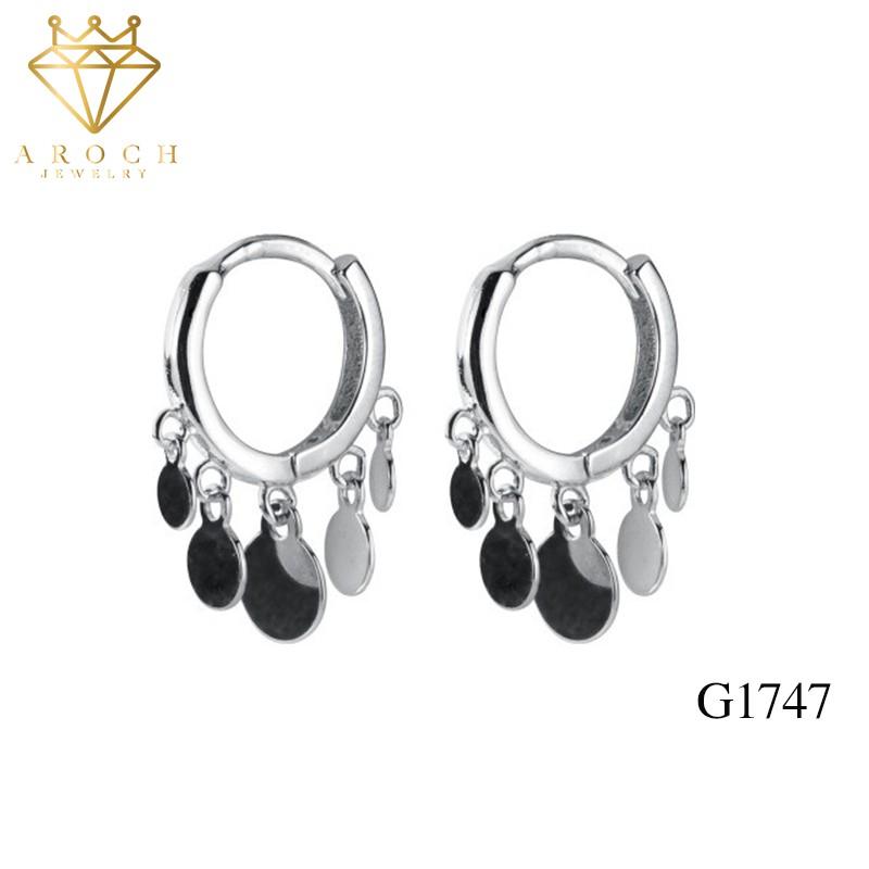 Khuyên tai bạc Ý s925 AROCH Jewelry thời trang G1747 - Tặng kẹp tóc xinh xắn 10k