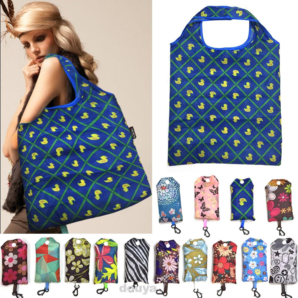 Polyester Printed Reusable Portable Large Capacity Shopping Bag