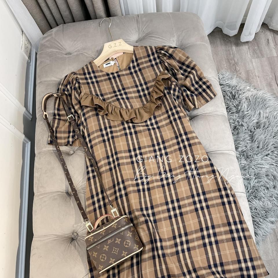 Mặc gì đẹp: Dễ chịu với Váy Bầu Hè Đầm Bầu Kẻ Caro Màu Nâu Cổ Bèo Dáng Suông Đầm Bầu Công Sở Ngắn Tay
