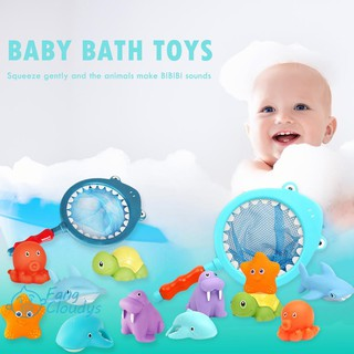 💕[IN STOCK/COD]💕7pcs/set Mixed Animals Swimming Water Baby Bath Toys Squeaky Bathing Toy