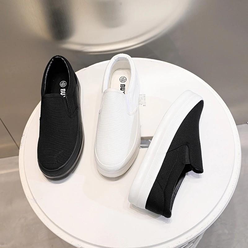 Slip on vải nữ - Giày lười vải nữ  đôn đế - Vải thô màu (trắng), (đen) đế trắng, đen full và (xám) - Mã SP F362
