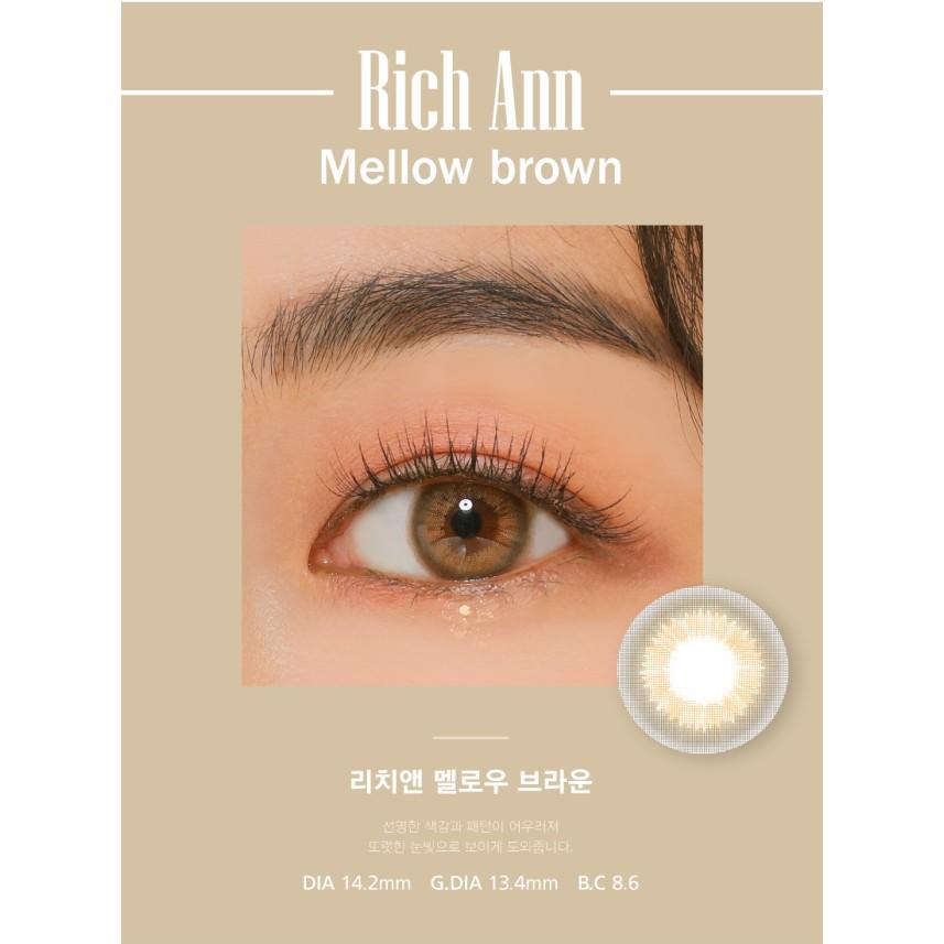 Lens màu thời trang 1 ngày đủ độ cận (từ 0.0 đến 6.0) - Rich Ann Mellow Brown NCC2