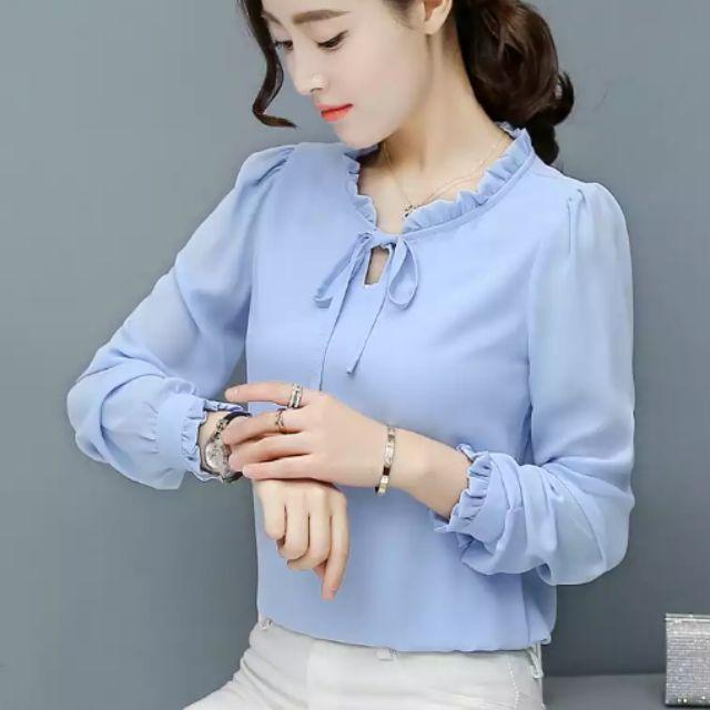 Áo sơ mi nữ dài tay,tay bồng, thắt lơ phong cách Hàn Quốc