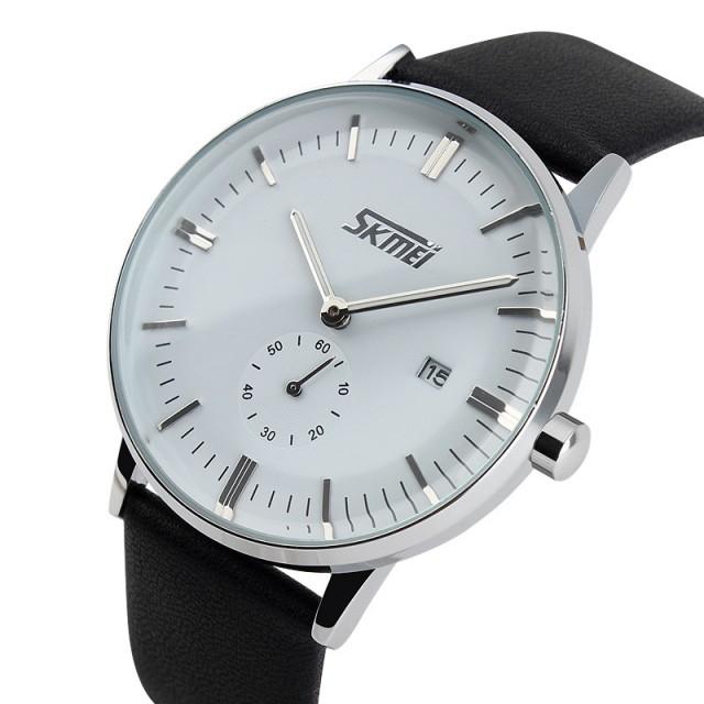 Đồng hồ nam Skmei mặt trắng dây da