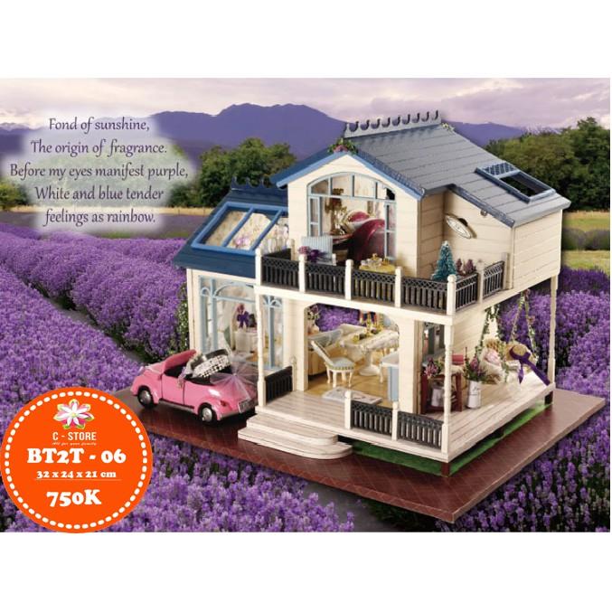 Ghép mô hình biệt thự nhà búp bê 2 lầu mái xanh Lavender trang nhã (Có xe, cót nhạc, mica che bụi)