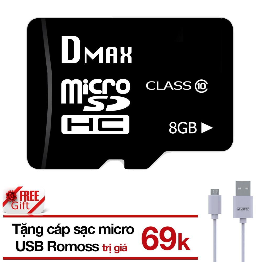 (Tặng cáp) Thẻ nhớ 8GB micro SDHC Dmax Class 10 tặng Cáp micro USB tròn Romoss - Bảo hành 5 năm đổi - 2760973 , 1315655053 , 322_1315655053 , 149000 , Tang-cap-The-nho-8GB-micro-SDHC-Dmax-Class-10-tang-Cap-micro-USB-tron-Romoss-Bao-hanh-5-nam-doi-322_1315655053 , shopee.vn , (Tặng cáp) Thẻ nhớ 8GB micro SDHC Dmax Class 10 tặng Cáp micro USB tròn Romo
