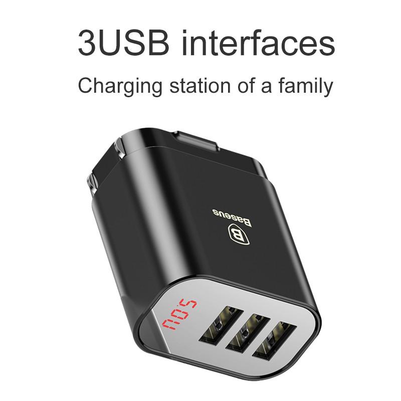 [COD Ready Stocks]Baseus Intelligent Digital Display 3USB Travel Charger 3.4A