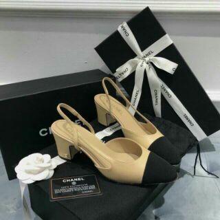 Giày nữ hở gót sục gót cao 5 phân màu nude be mũi màu đen phối da lộn hàng cao cấp (Có  Hộp )