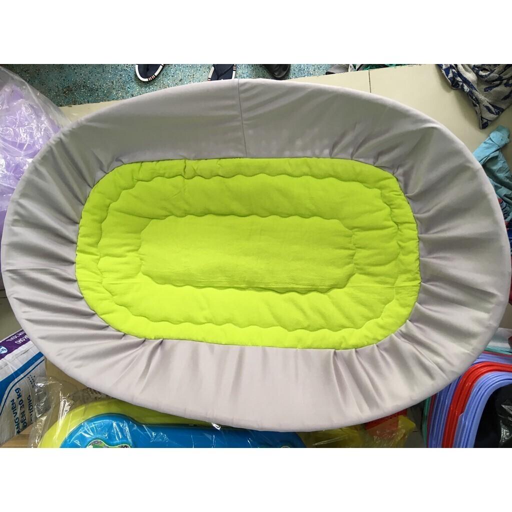 (Mẫu_Hot) Nệm lót nôi tre đặt võng Viet kids  vải cotton,an toàn dành cho bé
