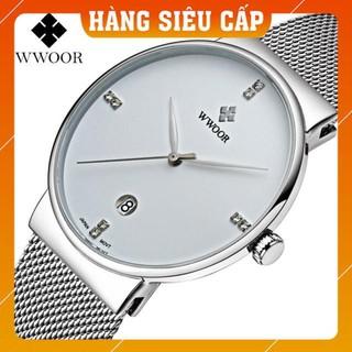 [CAO CẤP] Đồng hồ nam WWOOR 8018 dây lưới máy mỏng Fullbox chính hãng