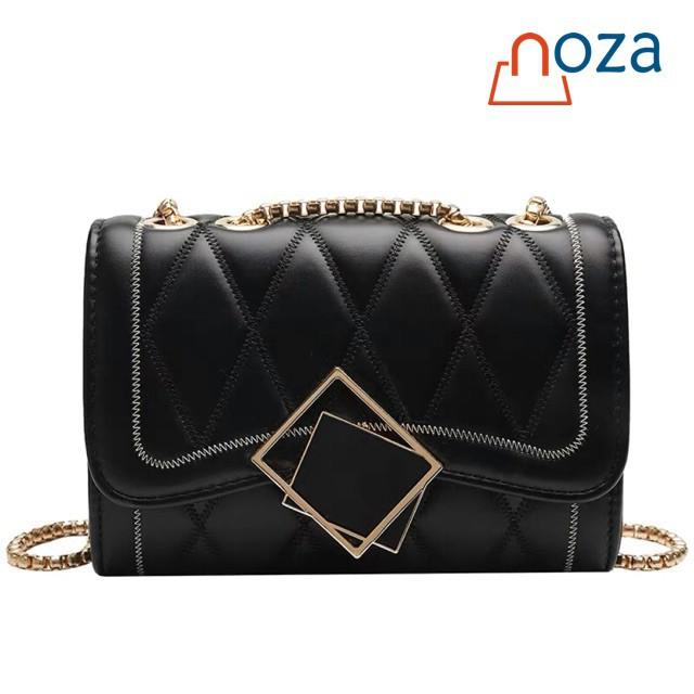 FreeShip 50K - (Mới) Túi đeo chéo thời trang nữ NOZA phong cách Hàn Quốc, họa tiết ô trám, khóa gương (NZ9018)