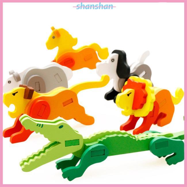 Children 3D Three-dimensional Wooden Animal Jigsaw Puzzle Toys DIY Handmade Animals Puzzles
