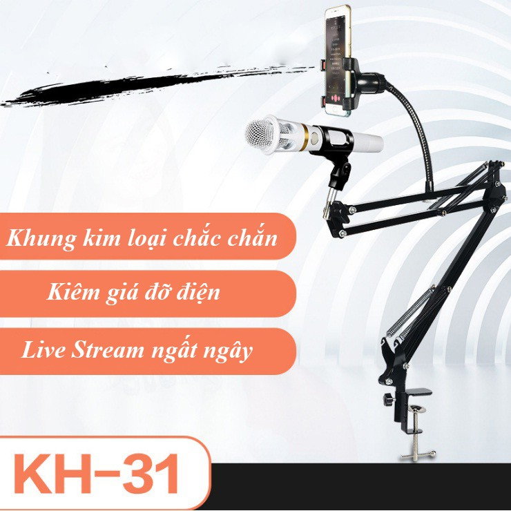 (Sale lỗ) Bộ Live Stream giá đỡ 2 in 1 KH-31 không kèm Mic