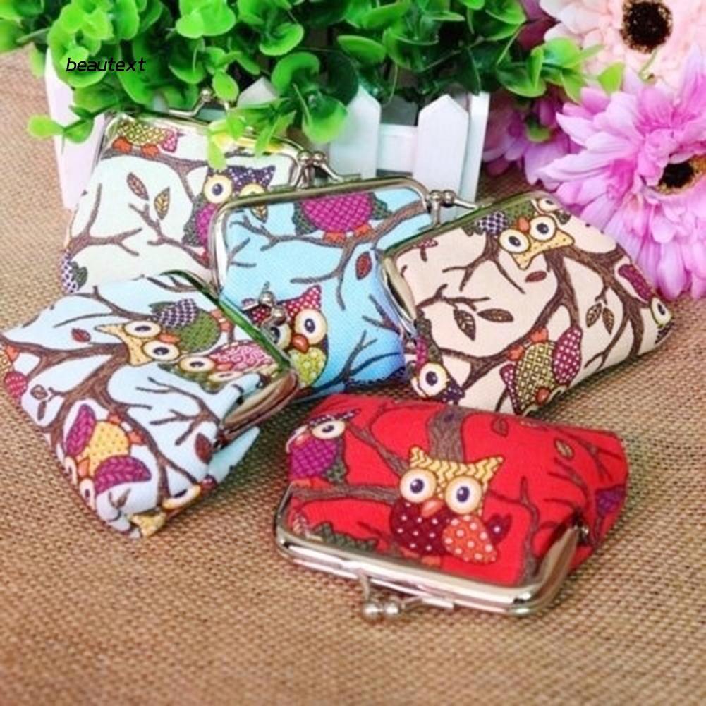 ✨BEAUTY✨ Multi-color Cartoon Owl Print Canvas Women Coin Purse Money Bag Wallet Kids Gift