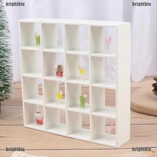 1Pc 1: 12 Dollhouse Miniature Wood Storage Rack 16 Grid Shelves Doll House Decor