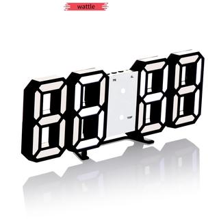 WATTLE USB charging Desktop or Wall-mounted Alarm Clock Date Bedrooms 3D Digital clock Temperature Modern Night Light LED Smart 3 Automatic Brightness Adjustment/Multicolor