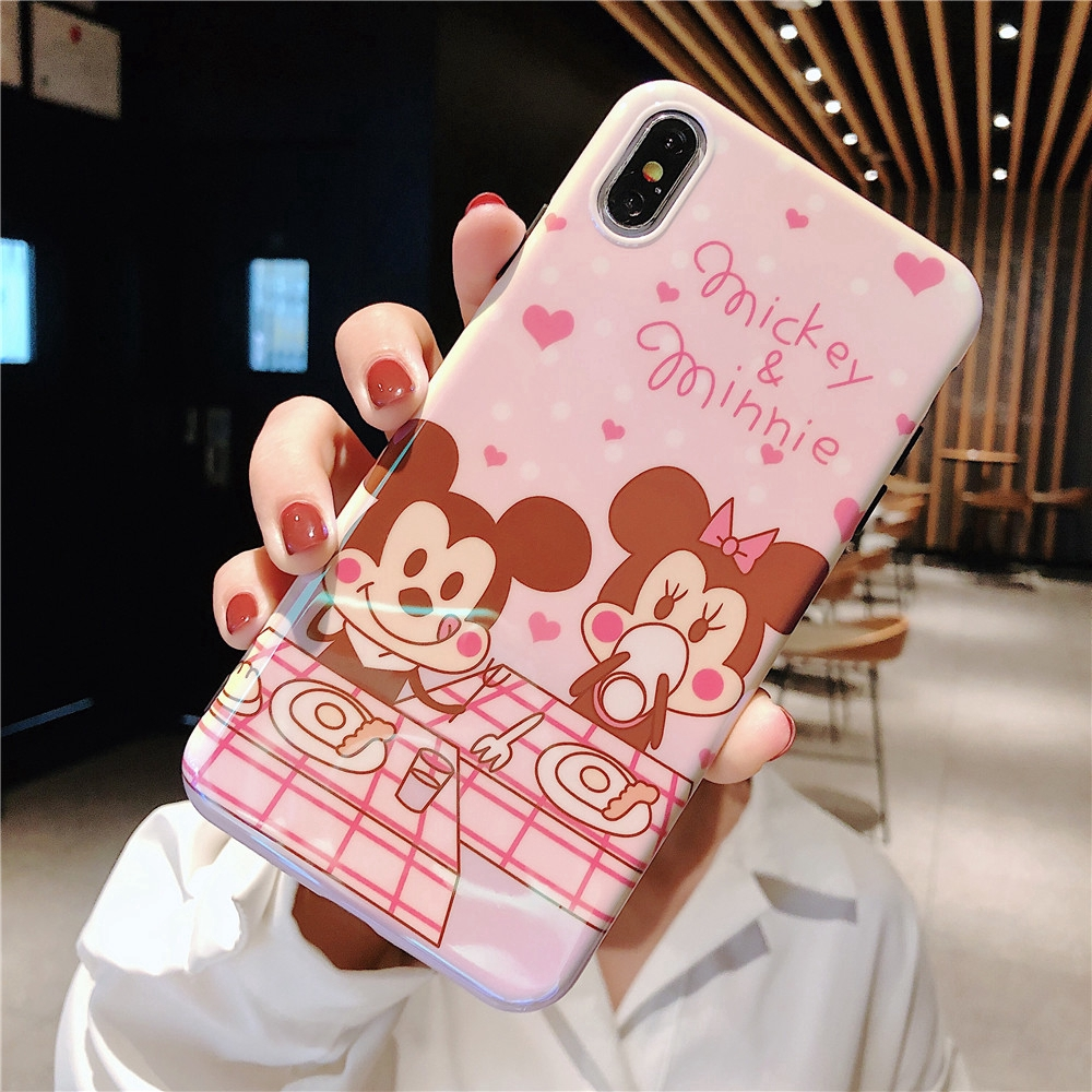 Cartoon Blu-ray Mickey Minnie Donald Duck Case For iPhone XR XS 7 8 6S 6 Plus Soft Silicone Cover