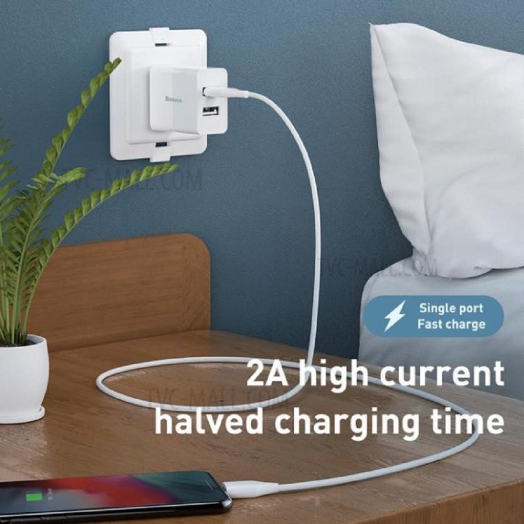 Củ Sạc Iphone  Củ Sạc Nhanh 2 Cổng Baseus Chống Cháy Nổ Speed Mini Dual U Charger CCFS  Bảo Hành 12 Tháng- Tuấn Case