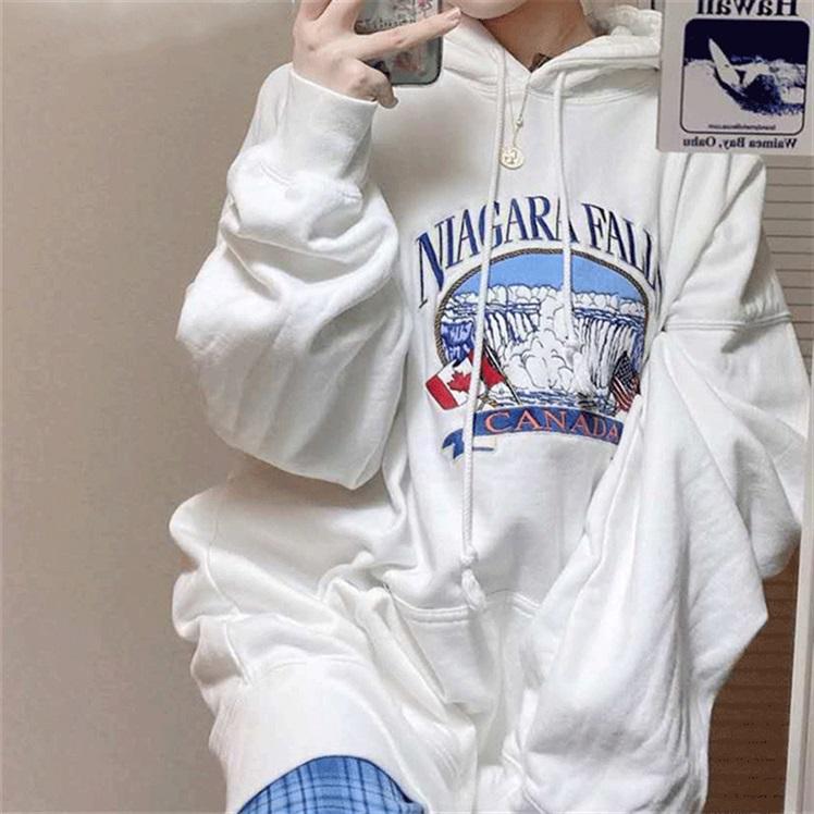 Áo hoodie phong cách Ulzzang Hàn Quốc tay dài họa tiết in chữ trẻ trung sành