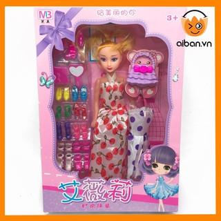 Búp Bê Barbie Khớp Có Tủ Giày, Váy, Túi Xách Để Thay