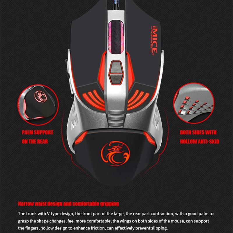 Chuột Chơi Game IMICE V5 Tăng ánh Sáng Thở đầy Màu Sắc LED Có Thể điều Khiển