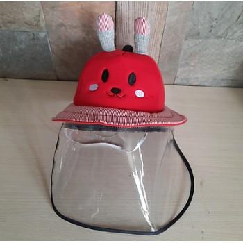 Mũ thần thánh chống dịch và khói bụi kèm kính nhựa Cho trẻ em - - Đỏ