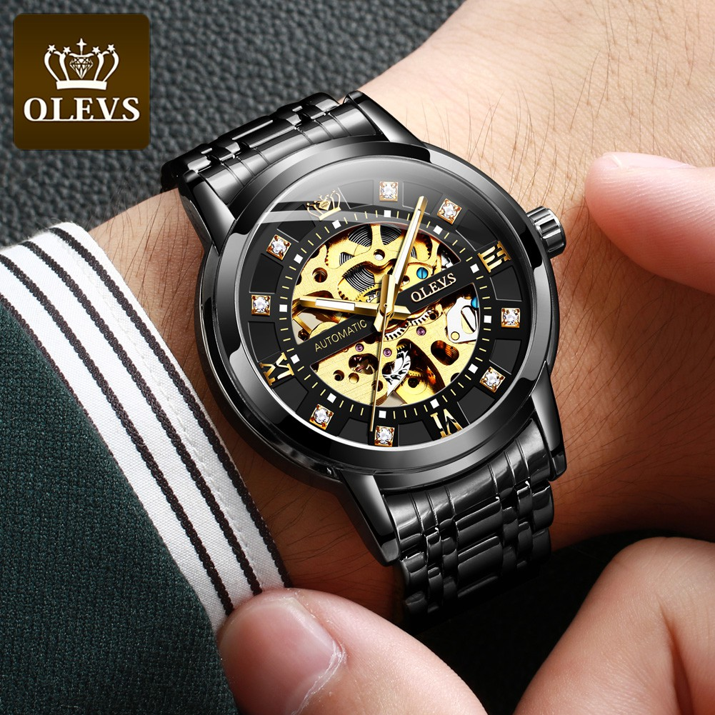 OLEVS 9901 Watch Men Genuine Stainless Steel Strap Large Dial Unique Waterproof Multicolor Luxury