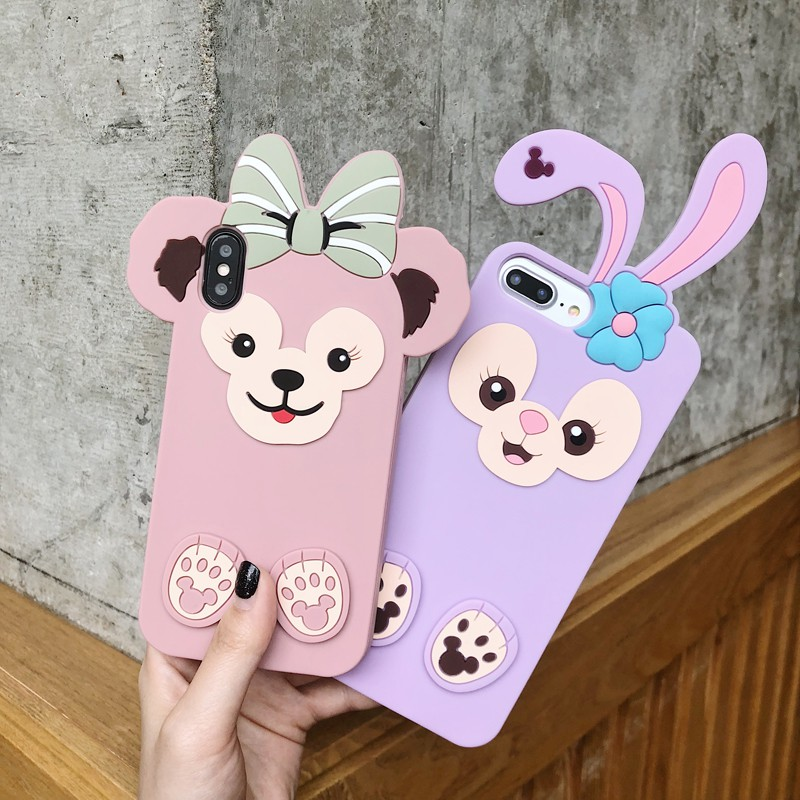 💕 LC iPhone 6/6S/6P/7/8/7P/8P/iPhoneX Phone Casing Duffy Bear Series TPU+Silicone Case